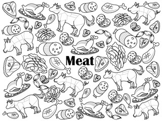 Meat colorless set vector illustration