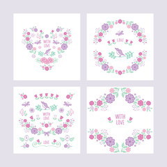 Set of hand drawn vintage floral elements for Valentine's Day, Mother's Day, Women's Day, birthday, wedding. Vintage heart of summer flowers. Vector.