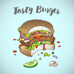 Bitten burger. Tasty burger. Restaurant brochure vector, menu design. Vector cafe template with hand-drawn graphic. Food flyer. Vector. Isolated.
