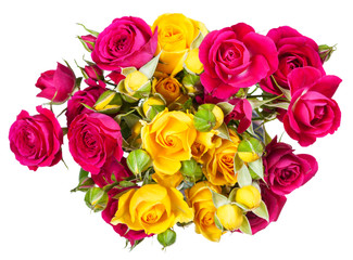 bunch of pink and yellow rose spray flowers