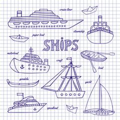 Ships on a notebook sheet