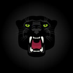 Logo black panther with green eyes