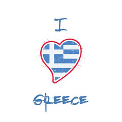 Greek flag patriotic t-shirt design. Heart shaped national flag Greece on white background. Vector illustration.