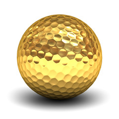 Gold golf ball isolated over white background with reflection and shadow 3D rendering