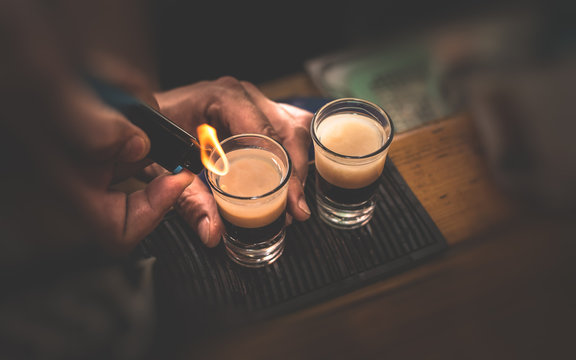 Two B 53 cocktails with lighter