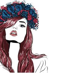 Sensual girl in blue wreath