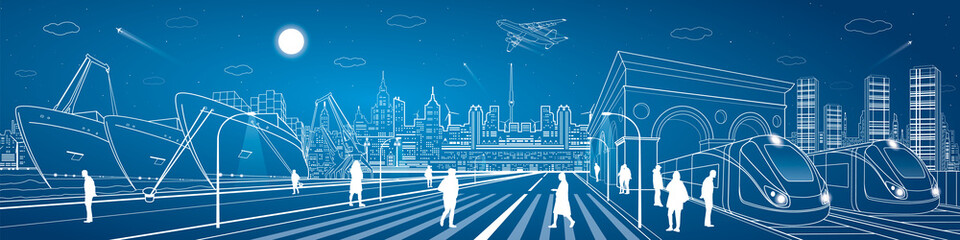 Wall Mural - Cargo port panorama, train on the railway station, people walking on square, industrial and transport panorama, night city, airplane fly, ship on the water, vector design art