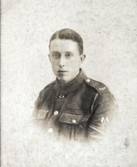 English soldier, portrait  of young man 1920th, vintage photo