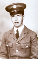 English soldier, portrait  of young man 1940th, vintage photo