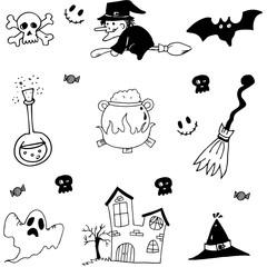 Halloween set in doodle stock