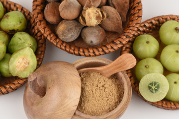 Triphala (thai name) means three fruits contain Terminalia belerica (Gaertn.) Roxb.), Terminalia chebula Retz. and Phyllanthus emblica Linn, have medicinal properties.