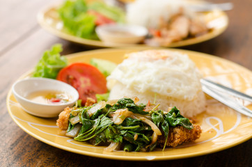 Thai food,spicy stir-fried crispy chicken with basil,fried egg and rice (Kapao kai Khai dao)