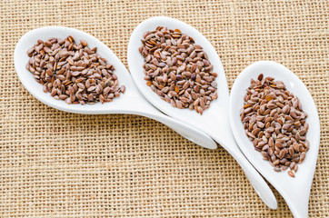 Brown flax seeds or linseed.