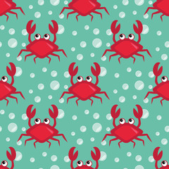 Funny crabs pattern, Seamless underwater pattern with cartoon crabs, sea life