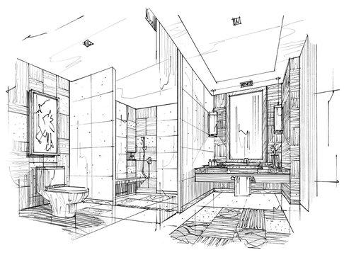 sketch stripes toilet & bathroom, black and white interior design.