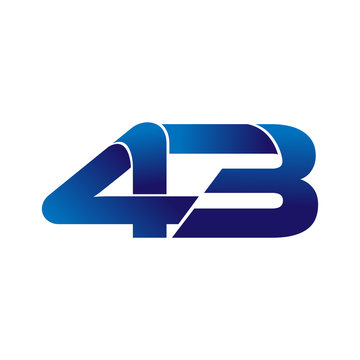Simple Numbers Logo Vector Blue 43