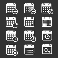 Calendar vector icons with event, add, delete, progress symbols. Plan calendar schedule and month calendar event and reminder illustration