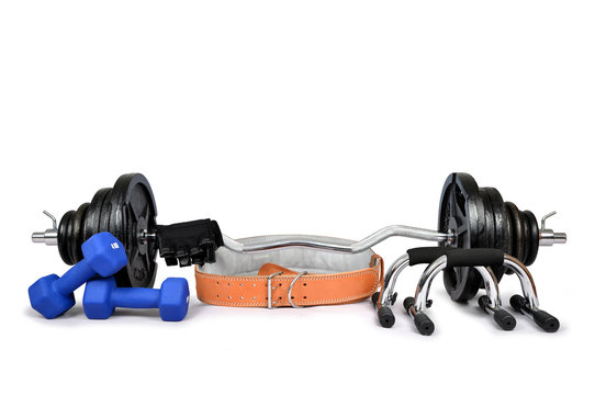 Dumbbells with belt and gloves isolated on white background