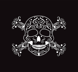 Skull and crossbones neon color