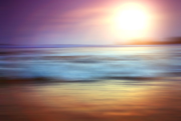 blurred background sunset on the sea