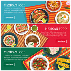 mexican food web banner flat design