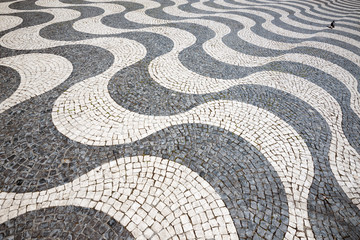 Detail of pavement at Rossio Square in Lisbon, Portugal