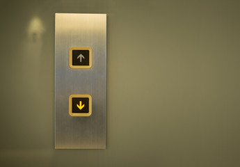 Elevator Button down direction with copy space