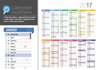Calendrier 2017 (Congés, lunes, n° mois et semaines) / avec calques textes vectorisés et non vectorisés