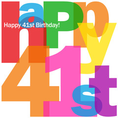 HAPPY 41st BIRTHDAY Vector Card