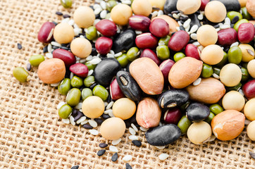 Mixed beans on sack.