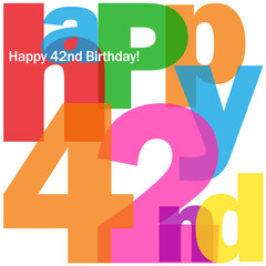 HAPPY 42nd BIRTHDAY Vector Card