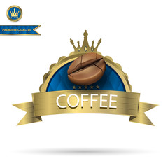 Coffee bean on Gold color label with isolated background