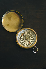 Close up of vintage compass
