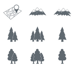 Map with muntain and forest icons set