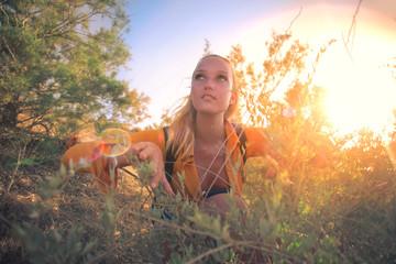 Beautiful girl hiking in the nature