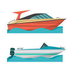 Set motor boat and small boat with outboard motor. Sea or river