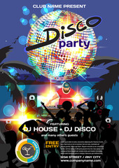 Vector summer party invitation disco style. Night beach, dj, cro