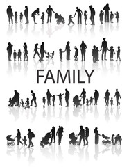 Set of very detailed Family Silhouettes.