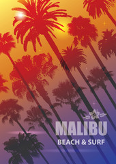Exotic Travel Background with Palm Trees for Malibu, California.