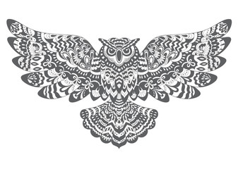 Stylized Decorative Vector Owl. Drawing for Coloring Book