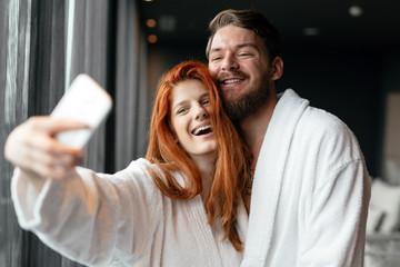 Couple in love enjoying wellness weekend