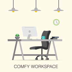 Comfy workspace interior made in a flat style.