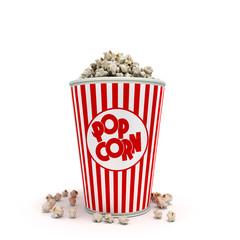 Popcorn in striped bucket 3d render on white background