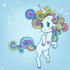 pink cartoon fairytale unicorn