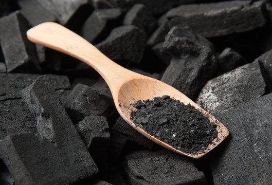 Black particles charcoal
