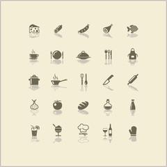 Wall Mural - Icons Kochen Küche