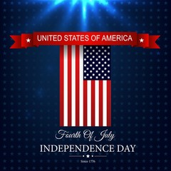Happy Independence day 4th july with american flag red ribbon