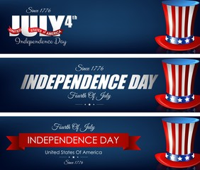 Happy independence day banners with hats