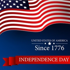 Happy Independence day 4th july with waving flag