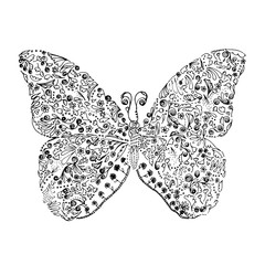 Vector art design from hand drawn illustration of butterfly flying. decorative ornament.